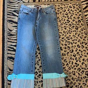 Women's cropped jeans.
